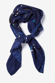 Navy Blue Silk Connect the Dots Square Scarf