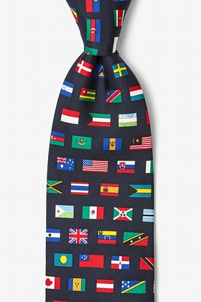 Country Flags Navy Blue Tie