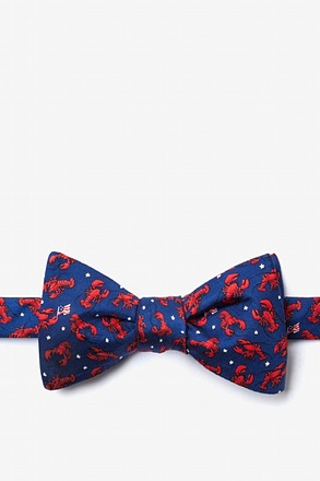 Crustacean Nation Navy Blue Self-Tie Bow Tie