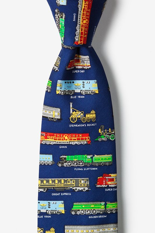 Derailed Navy Blue Tie Photo (0)