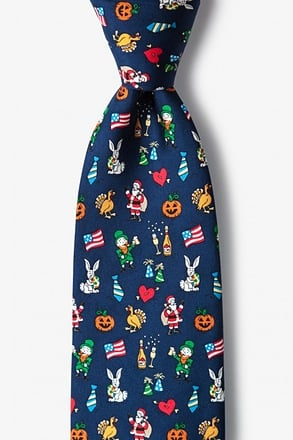 _Every Holiday Navy Blue Tie_