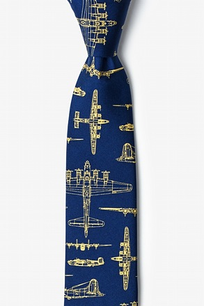 Flying Fortress Navy Blue Skinny Tie