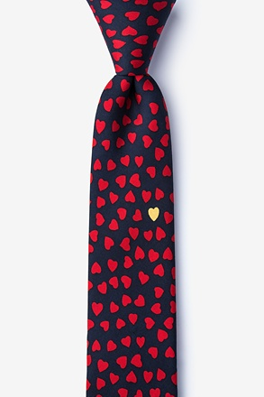 _Heart of Gold Navy Blue Skinny Tie_