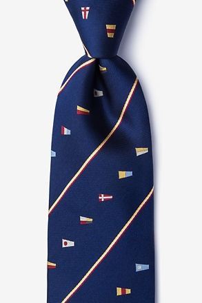 _It's A-Boat Time Navy Blue Tie_