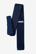 Laos Navy Blue Knit Skinny Tie Photo (1)