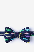 Navy Blue Silk Later Gator Butterfly Bow Tie