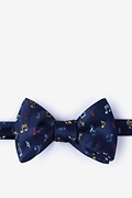 Navy Blue Silk Let's Compare Notes Self-Tie Bow Tie