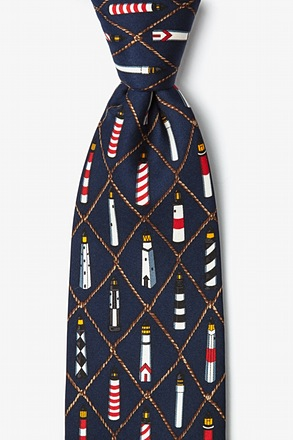 _Lighthouses Navy Blue Tie_