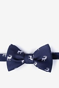 Navy Blue Silk Majestic Elk Self-Tie Bow Tie