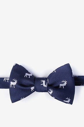 Majestic Elk Navy Blue Self-Tie Bow Tie