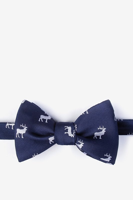 Majestic Elk Navy Blue Self-Tie Bow Tie Photo (0)