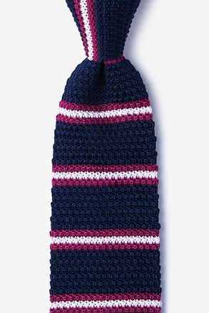 _Maltese Stripe Navy Blue Knit Tie_