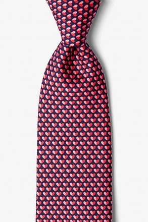 Micro Hearts Navy Blue Tie