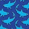 Navy Blue Silk Micro Sharks