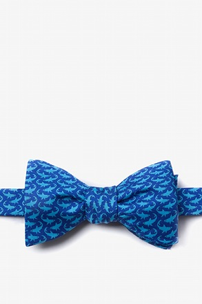 Micro Sharks Navy Blue Self-Tie Bow Tie