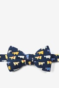 Navy Blue Silk Moo Moo Self-Tie Bow Tie
