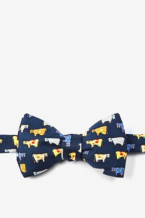 Moo Moo Navy Blue Self-Tie Bow Tie