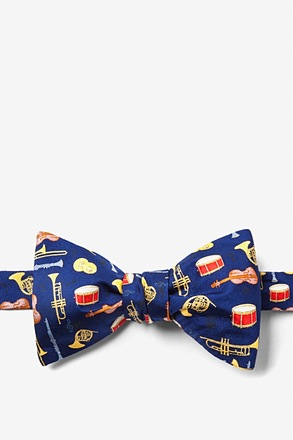_Musical Instruments Navy Blue Self-Tie Bow Tie_
