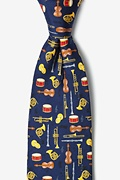 Navy Blue Silk Musical Instruments Tie