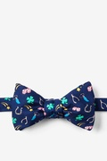 Navy Blue Silk My Lucky Self-Tie Bow Tie