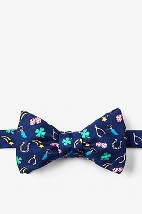 _My Lucky Navy Blue Self-Tie Bow Tie_