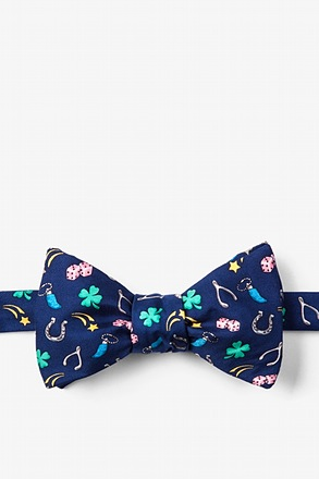 My Lucky Navy Blue Self-Tie Bow Tie