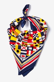 Navy Blue Silk Nautical Flags Neckerchief