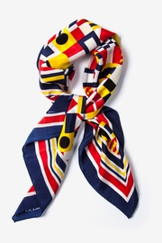 Navy Blue Silk Nautical Flags Square Scarf