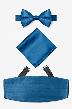 _Navy Blue Pretied Bow Tie Cummerbund Set_