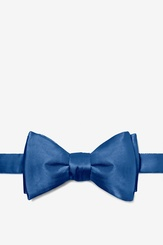 Navy Blue Silk Navy Blue Self Tie Bow Tie