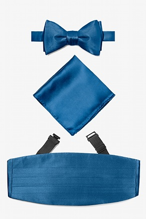 _Navy Blue Self Tie Bow Tie Cummerbund Set_