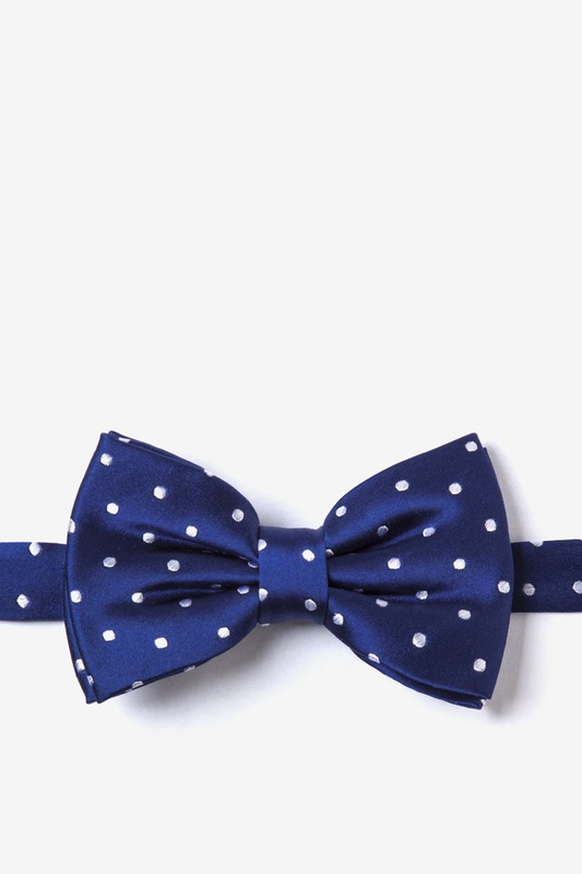 Navy With White Dots Pre-Tied Bow Tie