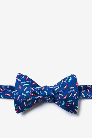 Ouch! Navy Blue Self-Tie Bow Tie