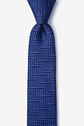 Navy Blue Silk Pearch Skinny Tie