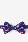 Navy Blue Silk Photo Finish Self-Tie Bow Tie