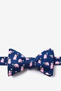 Navy Blue Silk Pink Elephants Butterfly Bow Tie