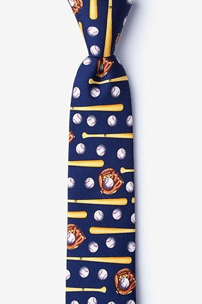 _Play Ball Navy Blue Skinny Tie_