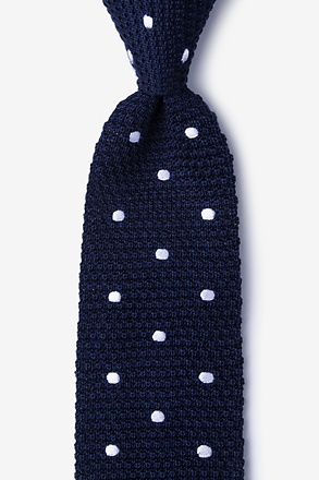 _Polka Dot Navy Blue Knit Tie_