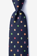 Navy Blue Silk Pool Party Extra Long Tie
