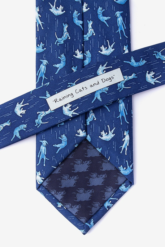 Raining Cats and Dogs Navy Blue Extra Long Tie Photo (2)
