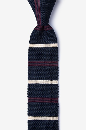 _Roman Stripe Navy Blue Knit Skinny Tie_