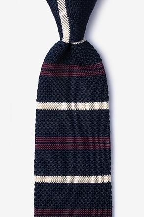 Roman Stripe Navy Blue Knit Tie