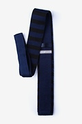 Rugby Stripe Navy Blue Knit Skinny Tie Photo (1)