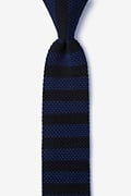 Rugby Stripe Navy Blue Knit Skinny Tie Photo (0)