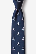 Navy Blue Silk Runners High Skinny Tie