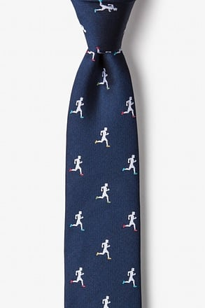 _Runners High Navy Blue Skinny Tie_