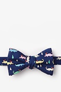 Navy Blue Silk Santa Gators Self-Tie Bow Tie