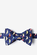 Navy Blue Silk Seas the Day Self-Tie Bow Tie