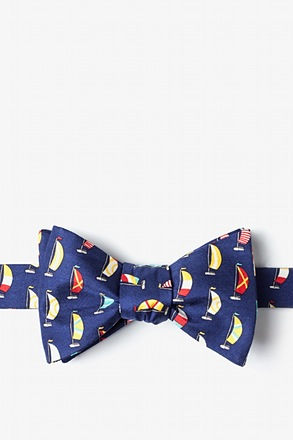 _Seas the Day Navy Blue Self-Tie Bow Tie_