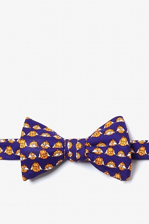 See No, Hear No, Speak No Jack Navy Blue Self-Tie Bow Tie